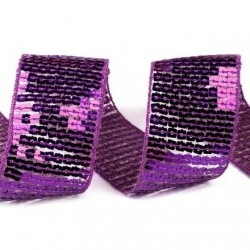 Galon de sequins carres effet paillettes violet 40 mm