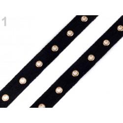 Galon coton noir 20mm avec petits oeillets, bande de laçage, bande pour corset