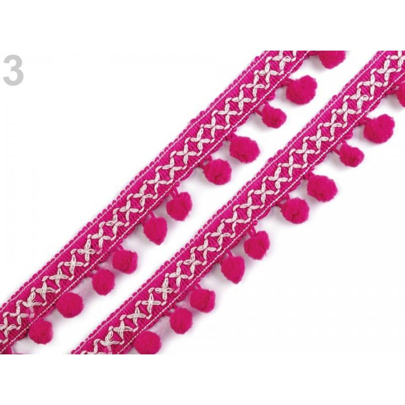 Galon à pompons 35mm motif ethnique, guirlande de pompons