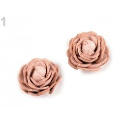 Fleur simili cuir 20mm, rose en simili cuir