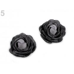 Fleur simili cuir 20mm, rose en simili cuir