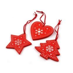 Décorations de Noël en bois / étoile, sapin, coeur / bois rouge et blanc