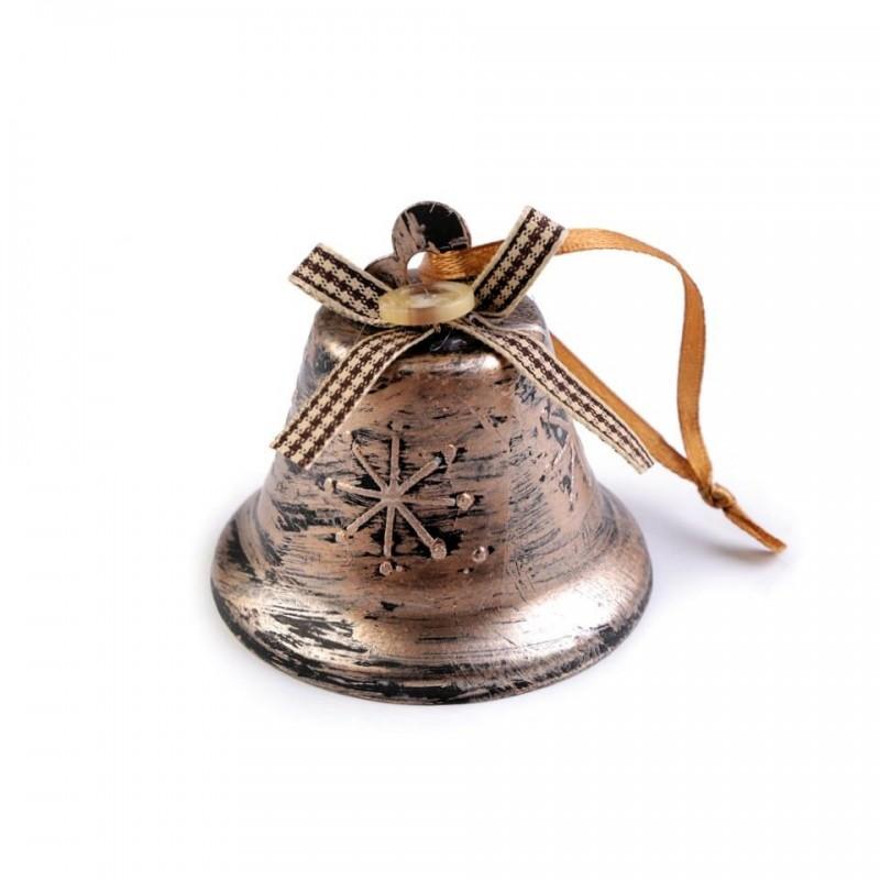 Décoration cloche de Noël 65mm / Etoile des neiges / Argent ou cuivre / Flocon de neige, Décoration de l'Avent