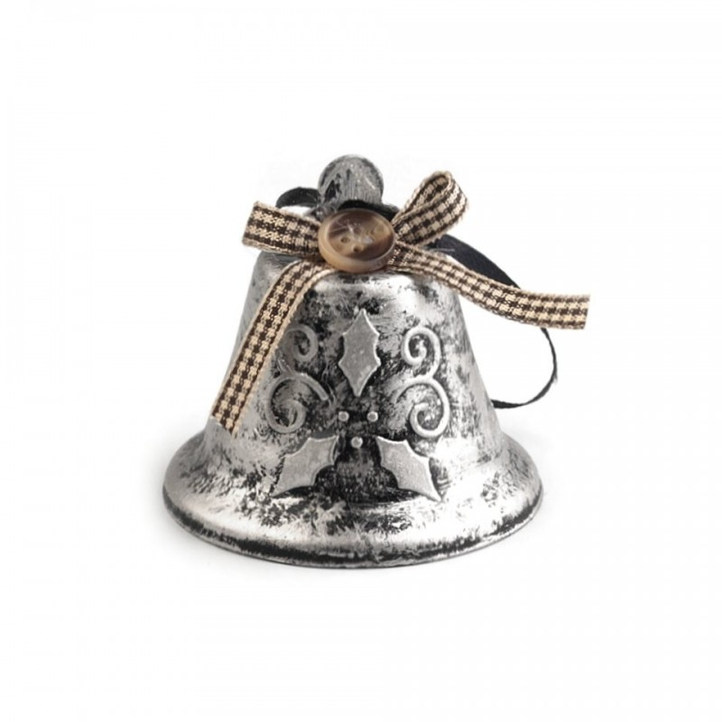 Décoration cloche de Noël 65mm / Branche de houx / Argent ou cuivre / Décoration de l'Avent