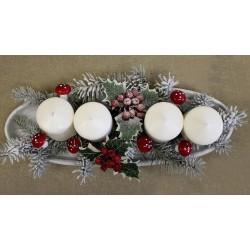 Branche baies rouges houx artificiel givré 54cm / Décoration Noël, couronne de l'Avent