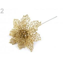 Fleur de Noël Poinsettia 13cm / Métal argent ou or / Décoration Noël, Couronne de l'Avent