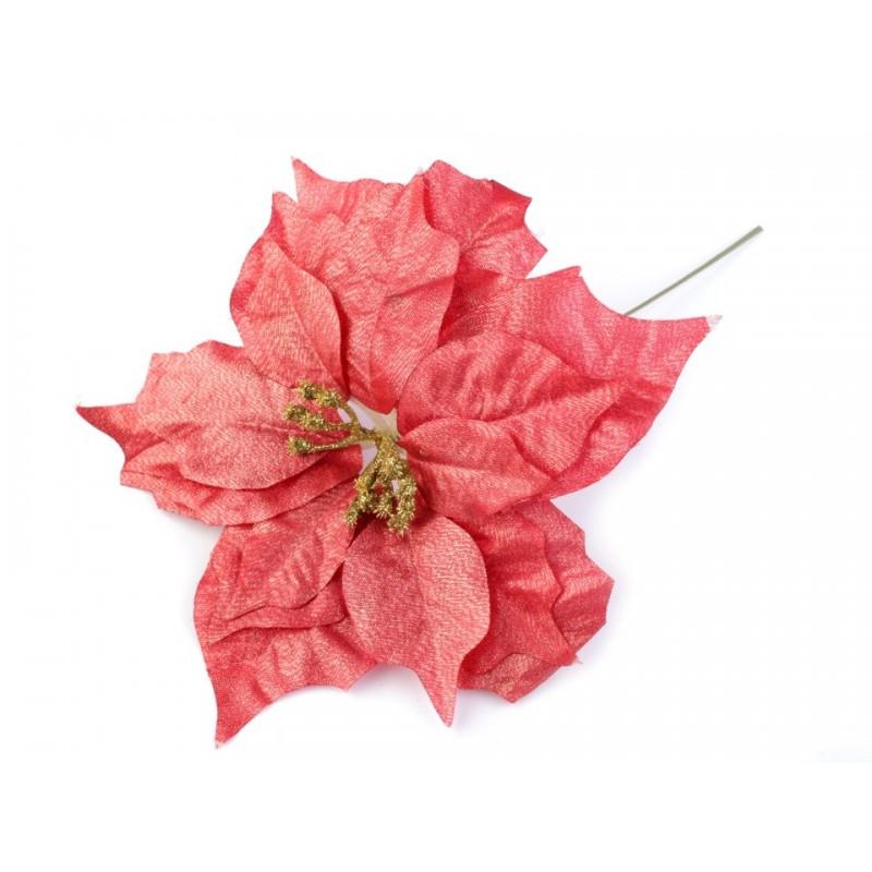 Fleur de Noël Poinsettia 24cm / rouge clair et lurex or / Décoration Noël, Couronne de l'Avent