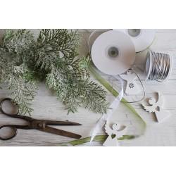 Branche d'eucalyptus givré artificiel 21cm / Décoration Noël, couronne de l'Avent