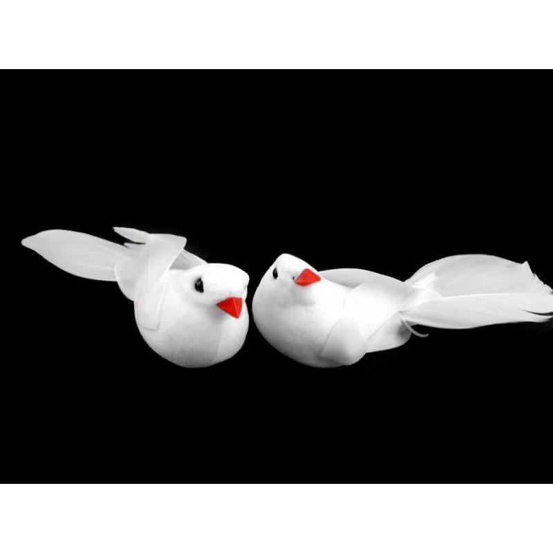 Paire de colombes décoratives 3x9cm / Décoration de Noël, mariage
