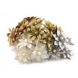 Bouquet de 6 fleurs pailletées sur pic / argent, or, blanc, cuivre / Décoration et couronne de Noël ou mariage