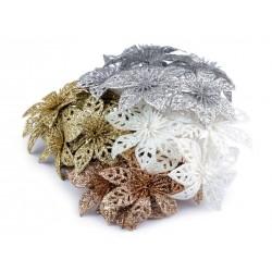 Bouquet de 6 fleurs poinsettias pailletées sur pic / argent, or, blanc, cuivre / Décoration et couronne de Noël ou mariage
