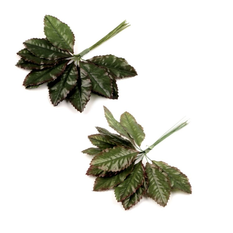 Bouquet de 12 feuilles artificielles sur pic 12cm / Décoration Noël, couronne, mariage