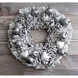 2 coeurs métal blanc et argent 35mm / Décoration Noël, Couronne de l'Avent ou mariage