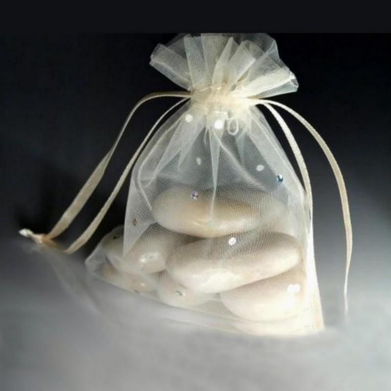 10 Sachets cadeau organza et strass 10cm / Blanc ou ivoire / cadeaux invités mariage, emballage cadeau, sachets voile organza