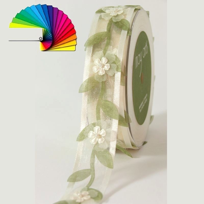 Ruban organza fleurs et perles 27mm / Ivoire, violet, rose / Ruban décoration mariage, guirlande fleurs et perles