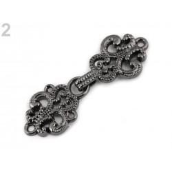 Fermoir crochet filigrane métal/ argent ou noir / crochet boucle agrafe de fermeture pour veste, gilet, sac, maroquinerie