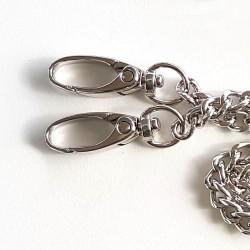 Anse de sac chaîne métal 120cm avec 2 mousquetons  / argent, bronze, noir / Anses de sac métal, chaîne bandoulière sac