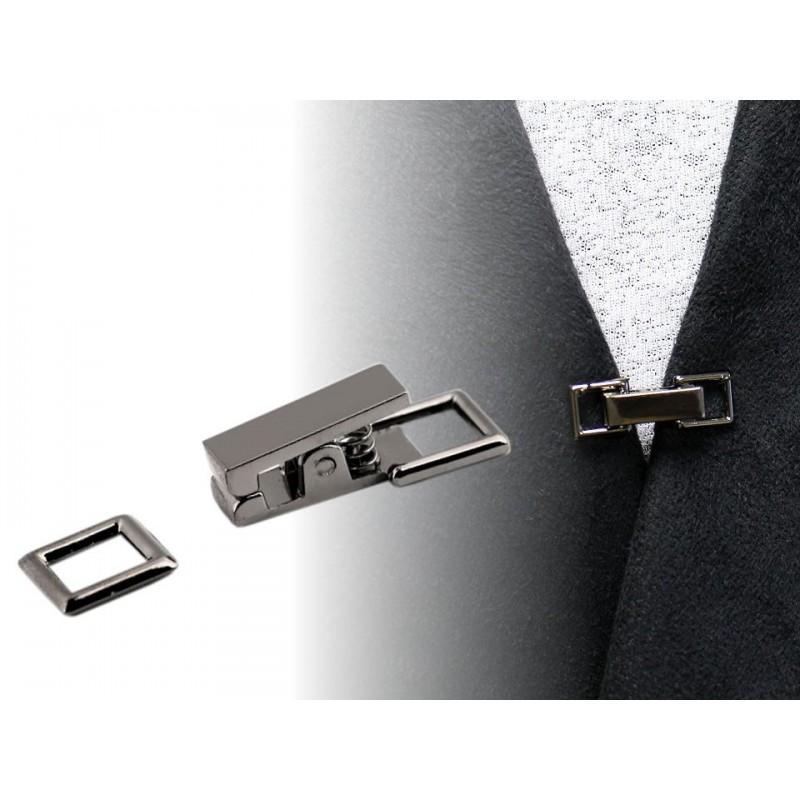Bouton crochet métal/ argent ou noir / Pince agrafe de fermeture pour veste, gilet, sac, maroquinerie