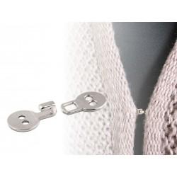 Bouton crochet métal/ argent ou noir / agrafe de fermeture pour veste, gilet, sac, maroquinerie