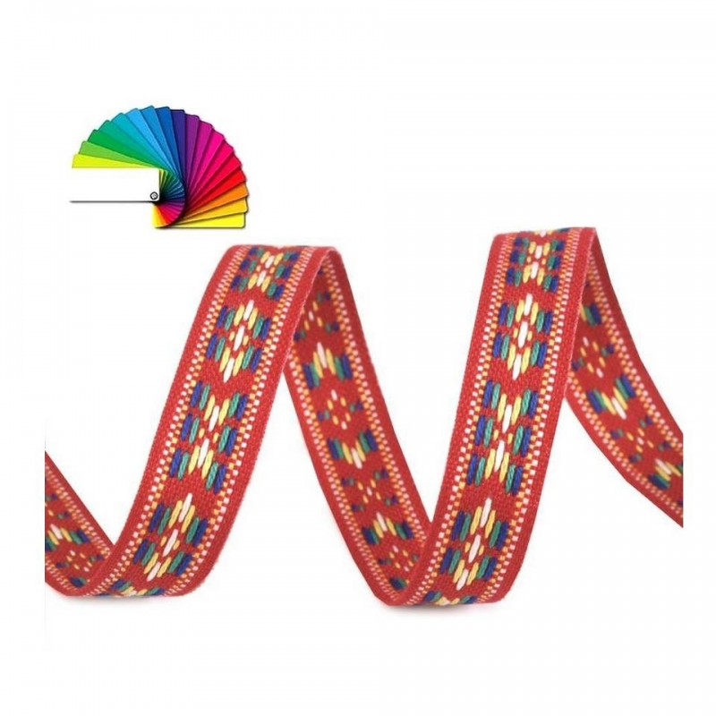 Galon tissé 13 mm motif indien rouge