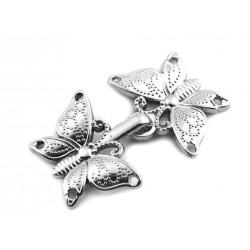 Fermoir crochet papillons métal argent / crochet boucle agrafe de fermeture pour veste, gilet, sac, maroquinerie