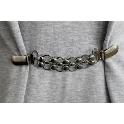 Clip fermoir cardigan métal argent / motif rond / crochet boucle agrafe de fermeture pour veste, gilet, sac, maroquinerie