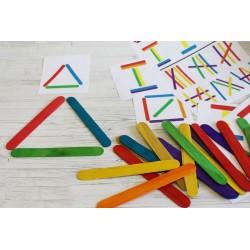 50 Spatules couleurs en bois pour loisirs créatifs 1,8 x 15 cm