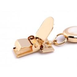 Boucle clip fantaisie pour cardigan / Argent ou or / Double clip metal et cristal