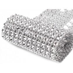 Galon 12 rangs strass 6 cm / noir, argent / Bande imitation cristal, ruban de cristaux transparents, bande strass mariage