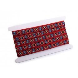 Galon tissé 16mm motif indien / Ruban ethnique, folklorique