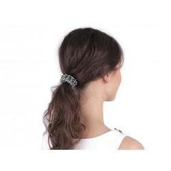 Elastique à cheveux avec perles / ivoire, blanc, argent, noir / Pour chignon ou queue de cheval