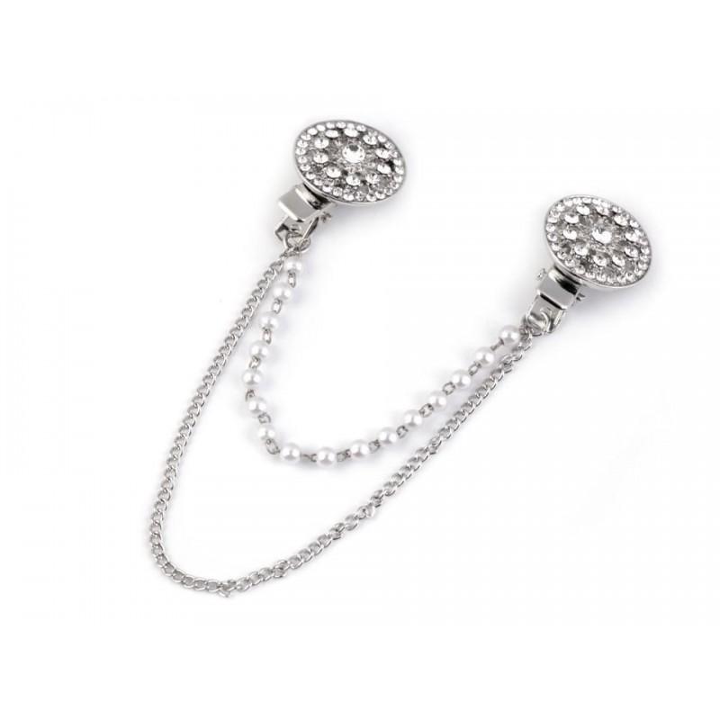Double clip broche strass et perles