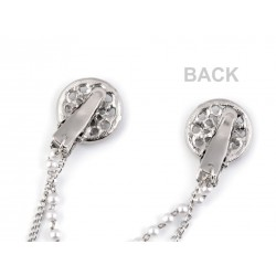 Double clip broche strass et perles / ovale