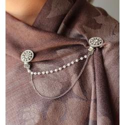 Double clip broche strass et perles / fleur perle