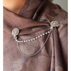 Double clip broche strass et perles / Rond
