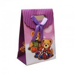 Petit sac cadeau 13 cm nounours carton et ruban satin violet