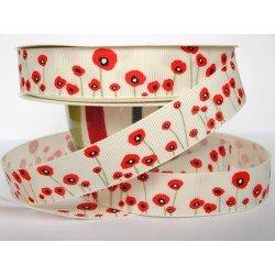 Ruban fleur coquelicot rouge 16 ou 22mm / Blanc ou ivoire / emballage cadeau, décoration gâteau, fête des mères, anniversaire, P