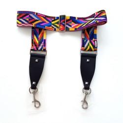 Bandoulière anse de sac multicolore simili cuir, tissu et boucles argent