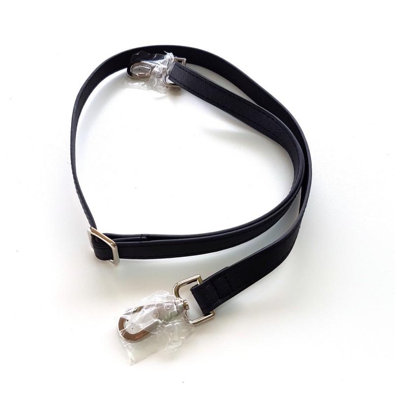 Bandoulière anse de sac simili cuir noir et boucles argent