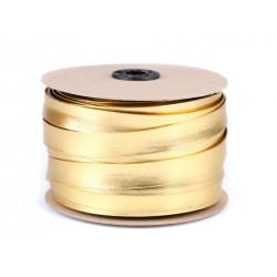 Biais imitation cuir or ou argent 20mm / Biais plat pré-plié cuir, biais préformé skaï, bordure tissu ganse
