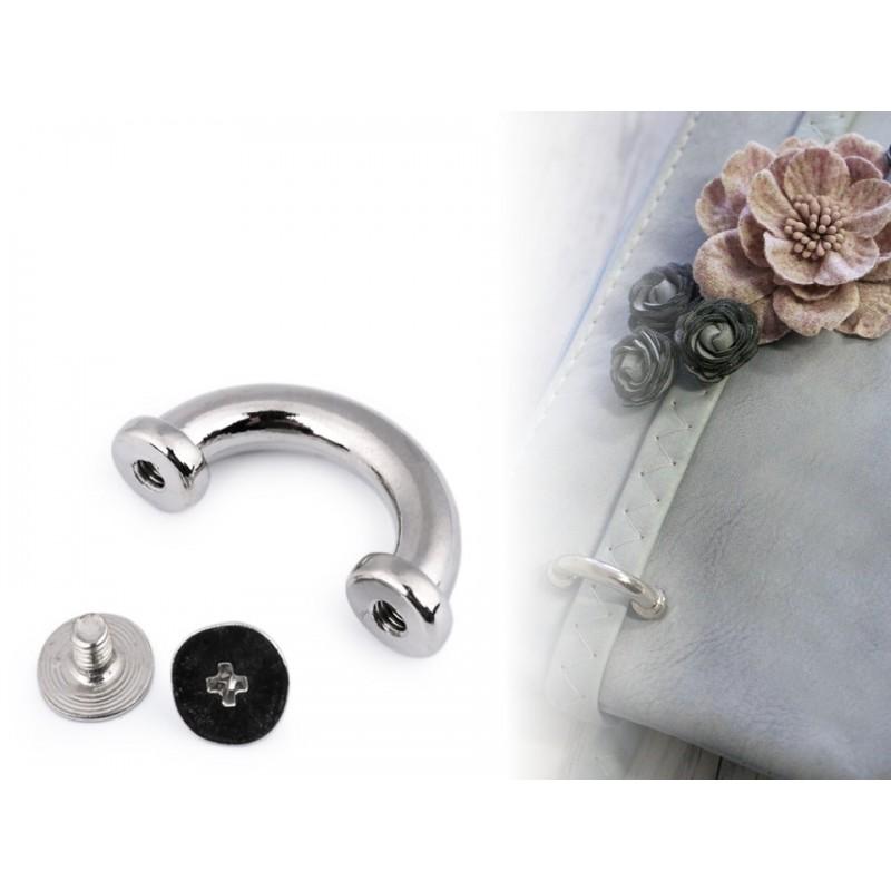 4 boucles en métal pour maroquinerie / argent ou bronze / passants pour lanière de sac, boucles décoratives en métal