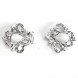 Fermeture agrafe en cristal et pierre ovale / crochet clip boucle strass, agrafe en métal, fermoir crochet, fermoir à clipser