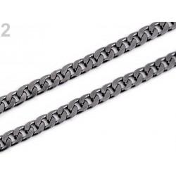 Anse de sac chaîne maille plate en métal 120 cm / argent ou noir