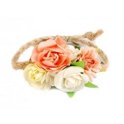 Bracelet corde et fleurs / Bracelet mariage romantique, mariage champêtre, bracelet fleurs