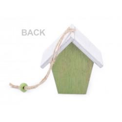 Mini nid en bois décoré pour crocher dans les arbres ou décorer les plantes vertes / Décoration jardin, suspension terrasse