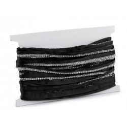 Galon noir orné de cristaux transparents 9mm / Tresse noire avec strass, galon décoratif