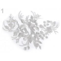 Large application en dentelle / Bleu marine, gris argent, or rose /  Dentelle appliquée, broderie lurex