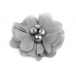 3 Fleurs voile coeur strass et perles 5 cm