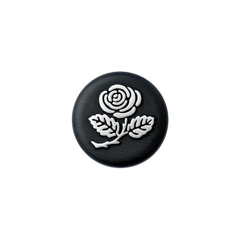 5 boutons noirs motif fleur rose 15 mm / argent ou or