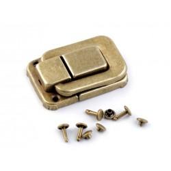 2 Verrous fermoir metal pour boite ou sac / argent ou or / mini fermoir de sac, portefeuille, porte monnaie